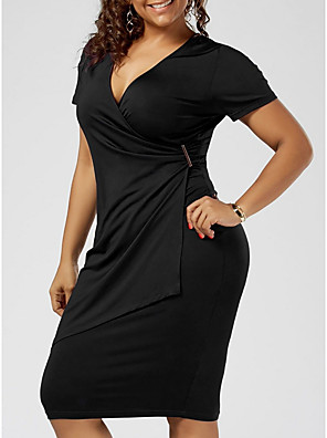 cheap Plus Size Dresses-Women's Plus Size Bodycon Knee Length Dress - Short Sleeve Solid Colored Summer Deep V Basic Daily Wear Black Blue Purple Red Light gray XL XXL XXXL XXXXL XXXXXL