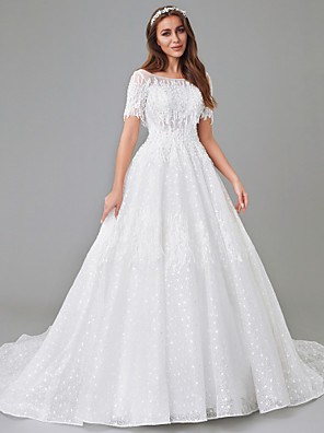 cheap Wedding Dresses-A-Line Wedding Dresses Bateau Neck Court Train Lace Satin Tulle Short Sleeve See-Through with Lace Insert Appliques 2020 / Illusion Sleeve