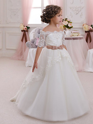 cheap Girls' Dresses-Ball Gown Maxi Wedding / Birthday / Pageant Flower Girl Dresses - Cotton / Lace / Tulle Half Sleeve Off Shoulder with Appliques / Crystals / Rhinestones