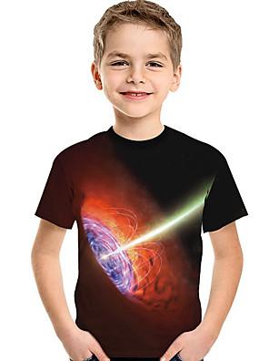cheap Boys' Tops-Kids Toddler Boys' Active Basic Geometric Print 3D Print Short Sleeve Tee Black