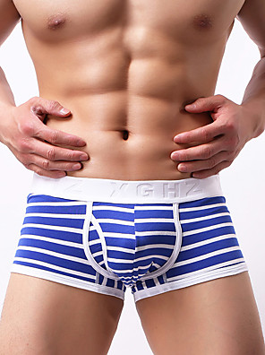 cheap Men's Exotic Underwear-Men's Basic Boxers Underwear - Asian Size 1 Piece Low Waist Black White Orange M L XL