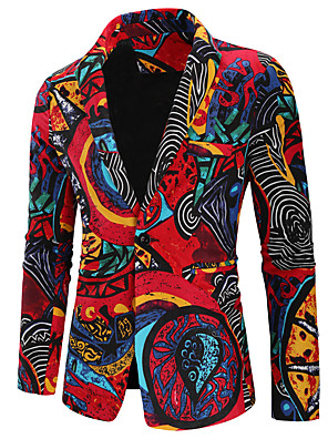 hesapli Erkek Kazakları ve Hırkaları-Erkek Çentik Yaka Blazer Geometrik Gökküşağı Keten Gökküşağı M / L / XL