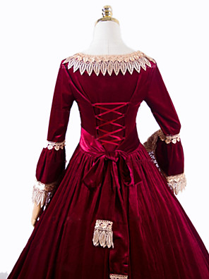 cheap Lolita Dresses-Princess Rococo Victorian Dress Party Costume Costume Women's Cotton Costume Red Vintage Cosplay Masquerade Party & Evening Long Sleeve Floor Length Long Length Plus Size
