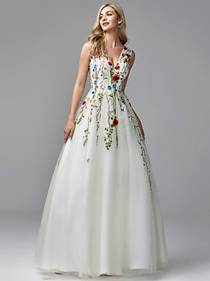 cheap Prom Dresses-A-Line Floral White Quinceanera Formal Evening Dress V Neck Sleeveless Floor Length Lace Tulle with Embroidery Appliques 2020