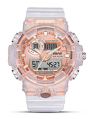 cheap Quartz Watches-Women's Sport Watch Digital Outdoor Water Resistant / Waterproof Rubber White Analog - Digital - Rose Gold Black Gold One Year Battery Life / Calendar / date / day / Stopwatch / Noctilucent