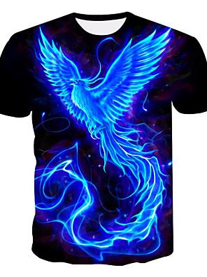 cheap Boys' Tops-Men's Plus Size T-shirt 3D Graphic Print Short Sleeve Tops Round Neck Black / Summer