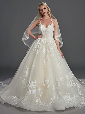 cheap Wedding Dresses-Ball Gown Wedding Dresses Halter Neck Court Train Lace Tulle Sleeveless Sexy See-Through Illusion Detail Backless with Lace Beading 2020