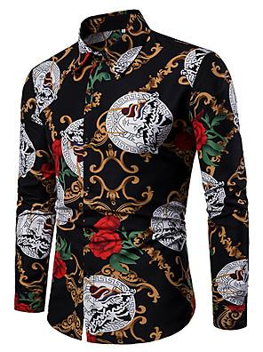 cheap Shirts-Men's Shirt Floral Print Tops Black