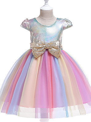 cheap Girls' Dresses-Kids Girls' Active Street chic Rainbow Patchwork Sequins Short Sleeve Knee-length Dress Blushing Pink