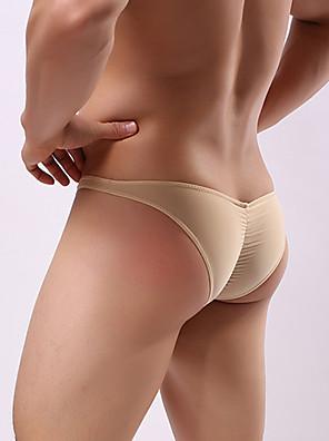 cheap Men's Exotic Underwear-Men's Ruched Briefs Underwear 1 Piece Low Waist Black Light Blue White M L XL