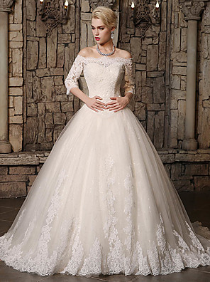 cheap Evening Dresses-Ball Gown Wedding Dresses Off Shoulder Chapel Train Lace Tulle 3/4 Length Sleeve with Lace Appliques 2020