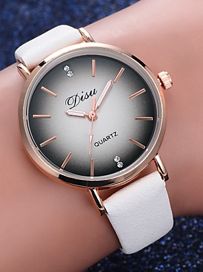 cheap Quartz Watches-Women's Quartz Watches Quartz Formal Style Fashion Casual Watch PU Leather Black / White / Red Analog - White Black Blue One Year Battery Life / Stainless Steel