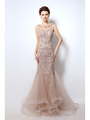 cheap Prom Dresses-Mermaid / Trumpet Sparkle & Shine Formal Evening Dress Jewel Neck Sleeveless Court Train Tulle with Crystals 2020