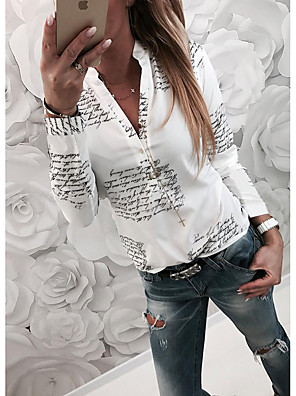 cheap Women's Blouses & Shirts-Women's Daily Shirt Pattern Letter Long Sleeve Slim Tops Basic Shirt Collar White