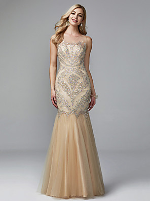 cheap Evening Dresses-Mermaid / Trumpet Elegant & Luxurious See Through Pastel Colors Formal Evening Dress Illusion Neck Sleeveless Floor Length Tulle with Beading 2020