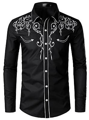 abordables Camisas de Hombre-Hombre Un Color Bordado Camisa Cuello Inglés Blanco / Negro / Rojo / Azul Marino
