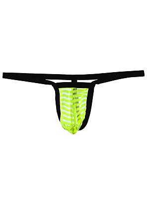 cheap Men's Exotic Underwear-Men's Mesh G-string Underwear - Normal 1 Piece Low Waist Black Yellow Blue M L XL
