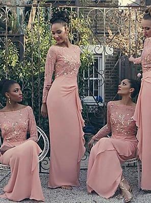 cheap Bridesmaid Dresses-Sheath / Column Bateau Neck Floor Length Chiffon Bridesmaid Dress with Beading / Split Front / Ruching