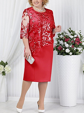 cheap Evening Dresses-Women's Plus Size T Shirt Dress - Half Sleeve Solid Color Paisley Lace Formal Style Spring Summer For Mother / Mom Cocktail Party Going out Blue Red Light Blue S M L XL XXL XXXL XXXXL XXXXXL