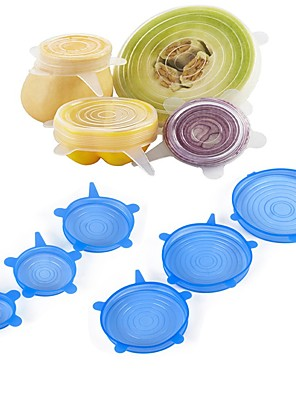 cheap Bathroom Gadgets-6Pcs Food Wraps Reusable Silicone Food Fresh Keeping Sealed Covers Silicone Seal Vacuum Stretch Lids Saran Wraps Organization