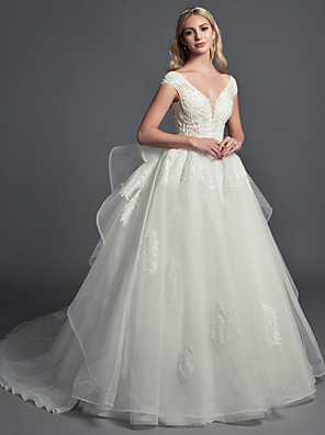 cheap Prom Dresses-Ball Gown Wedding Dresses V Neck Cathedral Train Lace Organza Tulle Sleeveless Glamorous Illusion Detail with Lace Beading 2020
