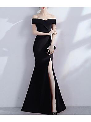 cheap Evening Dresses-Mermaid / Trumpet Sexy Black Prom Formal Evening Dress Off Shoulder Short Sleeve Floor Length Jersey with Split 2020