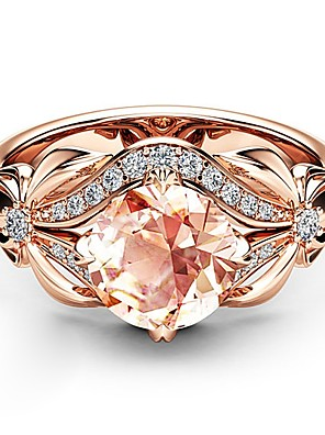 cheap Quartz Watches-Women's Ring Knuckle Ring Crystal 1pc Rose Gold Copper Rose Gold Plated Imitation Diamond Four Prongs Elegant Korean Fashion Gift Festival Jewelry Vintage Style Flower Lovely