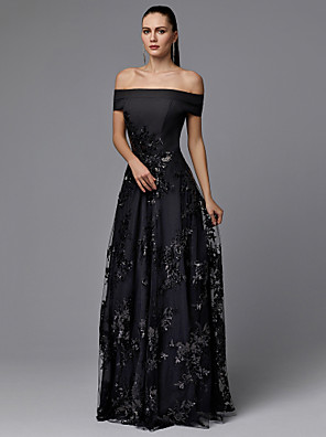 cheap Free Shipping-A-Line Elegant Prom Dress Off Shoulder Short Sleeve Floor Length Satin Tulle with Lace Insert 2020