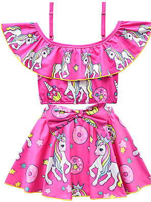 cheap Girls' Dresses-Kids Toddler Girls' Active Cute Unicorn Print Bow Short Sleeves Swimwear Purple