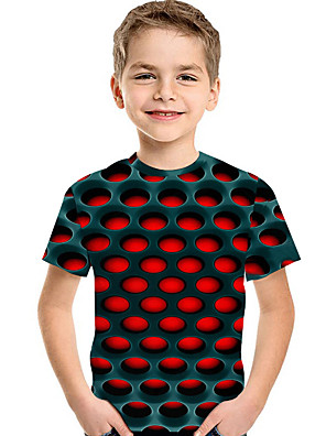 cheap Boys' Tops-Kids Toddler Boys' Active Basic Geometric Print 3D Print Short Sleeve Tee Yellow