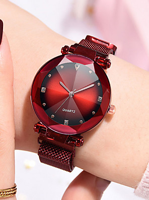 cheap Quartz Watches-Women's Quartz Watches Casual Fashion Black Blue Red Stainless Steel Chinese Quartz Red Purple Rose Gold Water Resistant / Waterproof New Design Imitation Diamond 30 m 1 pc Analog One Year Battery