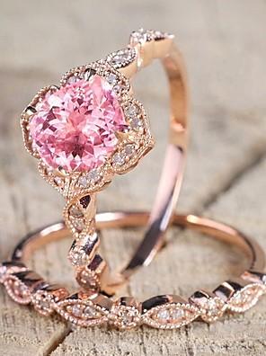 cheap Bridesmaid Dresses-Women's Ring Cubic Zirconia 2pcs Pink Alloy Circular Trendy Elegant Wedding Jewelry Classic Cute