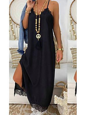 cheap Maxi Dresses-Women's Sheath Dress - Sleeveless Solid Colored Strap Slim Black S M L XL