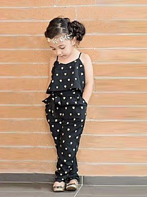 cheap Boys' Tops-Toddler Girls' Cute Daily Heart Print Sleeveless Overall & Jumpsuit Black
