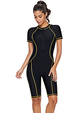 cheap Athletic Swimwear-Delamon Women's Rash Guard Dive Skin Suit Elastane Diving Suit Quick Dry Long Sleeve Front Zip Boyleg - Swimming Diving Surfing Painting Autumn / Fall Spring Summer / Stretchy