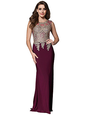 cheap Prom Dresses-Mermaid / Trumpet Minimalist Formal Evening Dress Jewel Neck Sleeveless Sweep / Brush Train Jersey with Crystals Appliques 2020