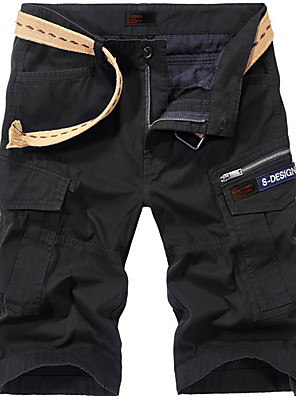 cheap Men's Pants & Shorts-Men's Basic Slim Shorts Pants - Solid Colored Black Army Green Khaki 30 / 31 / 32