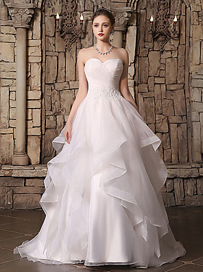 cheap Wedding Dresses-Ball Gown Wedding Dresses Sweetheart Neckline Court Train Lace Organza Strapless with Beading Cascading Ruffles Side-Draped 2020
