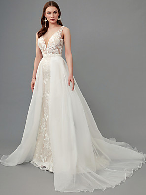 cheap Wedding Dresses-A-Line Wedding Dresses Plunging Neck Sweep / Brush Train Lace Organza Sleeveless See-Through with Lace 2020