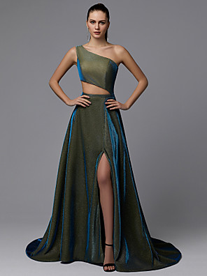 cheap Evening Dresses-A-Line Sparkle Green Prom Formal Evening Dress One Shoulder Sleeveless Court Train Sequined with Split Front 2020