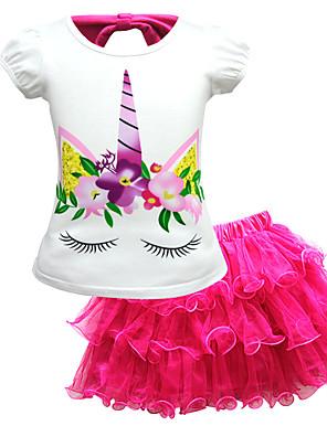cheap Girls' Dresses-Kids Toddler Girls' Active Street chic Unicorn Print Lace Short Sleeve Regular Regular Cotton Clothing Set Blushing Pink