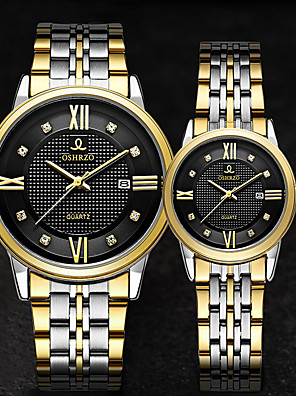 cheap Quartz Watches-Couple's Dress Watch Quartz Stainless Steel Silver / Gold 30 m Water Resistant / Waterproof Calendar / date / day Casual Watch Analog Classic Fashion - Gold White Black One Year Battery Life