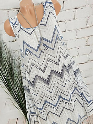 cheap Women's Dresses-Women's A Line Dress - Sleeveless Geometric V Neck White Blue Blushing Pink Khaki Dark Gray S M L XL XXL XXXL XXXXL XXXXXL