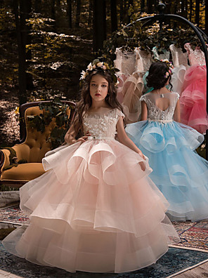 cheap Flower Girl Dresses-Ball Gown Sweep / Brush Train Birthday / Pageant Flower Girl Dresses - Lace / Organza / Tulle Short Sleeve Boat Neck with Heart / Belt / Beading