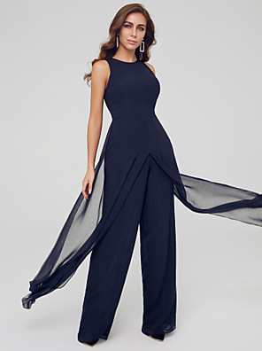 cheap Prom Dresses-Jumpsuits Elegant Blue Wedding Guest Formal Evening Dress Jewel Neck Sleeveless Floor Length Chiffon with Draping Split 2020