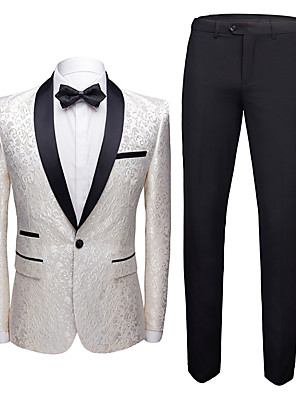 cheap Wedding Party Dresses-Tuxedos Tailored Fit Shawl Collar Single Breasted One-button Polyester Jacquard