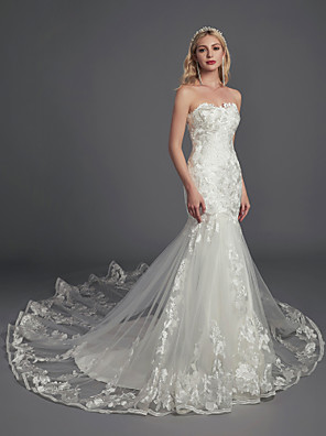 cheap Evening Dresses-Mermaid / Trumpet Wedding Dresses Strapless Sweep / Brush Train Lace Tulle Sleeveless Glamorous Illusion Detail with Lace Appliques 2020