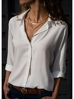 cheap Women's Blouses & Shirts-Women's Shirt Solid Colored Tops Shirt Collar White Black Red