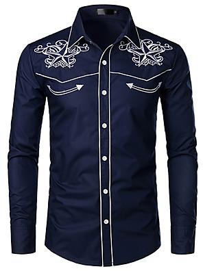 abordables Camisas de Hombre-Hombre Gráfico Bordado Camisa - Algodón Cuello Inglés Blanco / Negro / Azul Marino