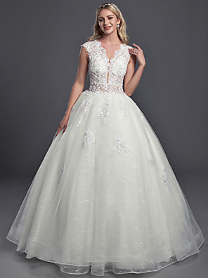 cheap Wedding Dresses-Ball Gown Wedding Dresses V Neck Chapel Train Lace Organza Tulle Sleeveless Glamorous See-Through Backless with Buttons Sequin 2020
